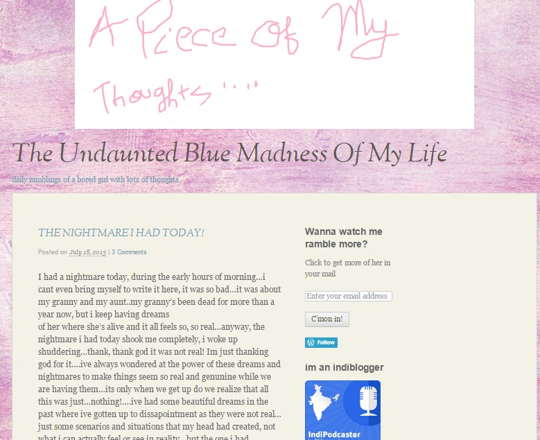 The Undaunted Blue Madness Of My Life