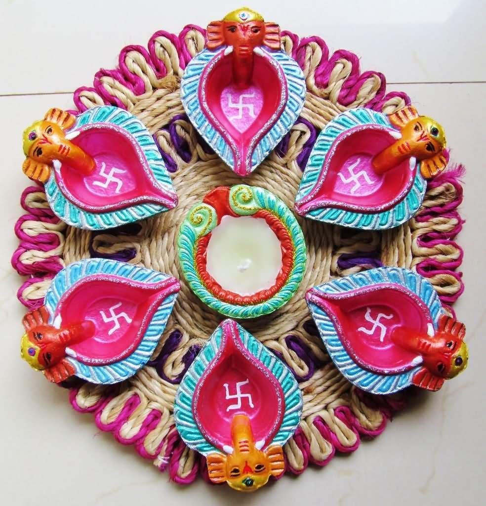 Pooja Thali With Diwali Diya Decoration