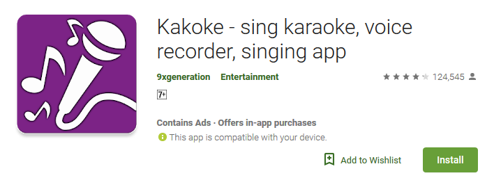 Karaoke App for Android Playstore