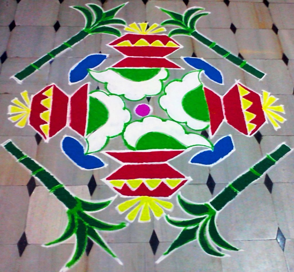 Makar Sankranti Wishes Rangoli