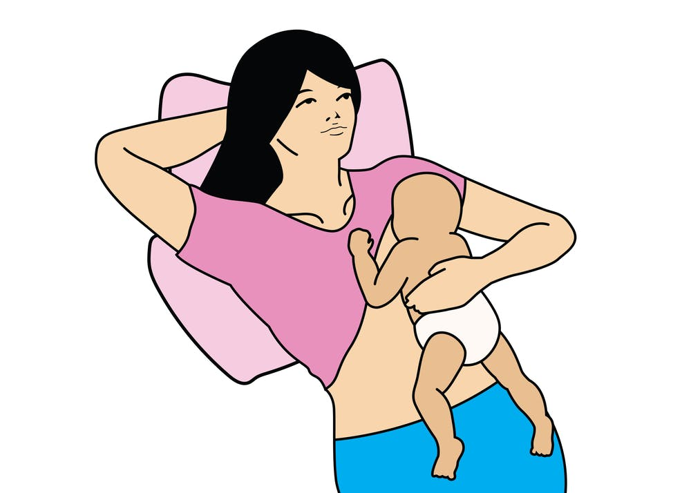 back lying position breastfeeding