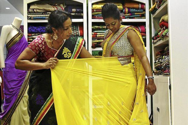 Draping a saree