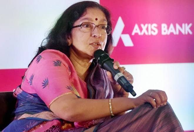 Shikha Sharma at press briefing at Axis Bank