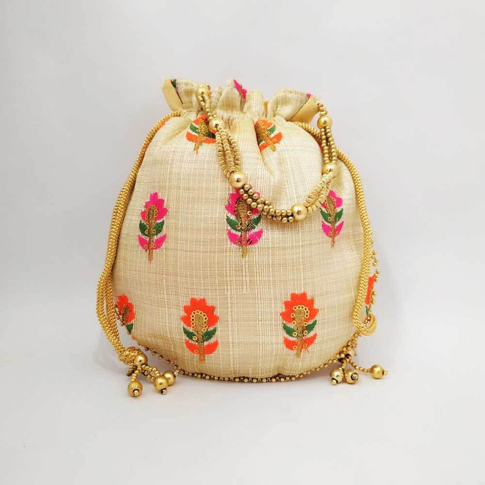 Floral Embroidery Round Potli