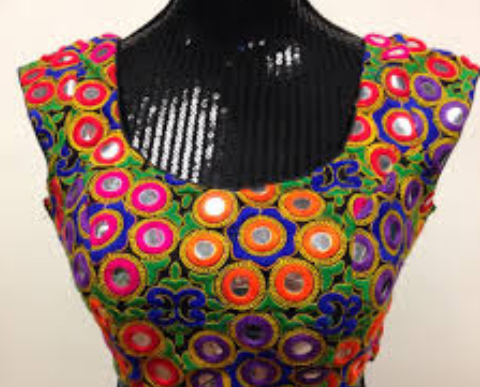 Mirror work blouse with cap sleeves