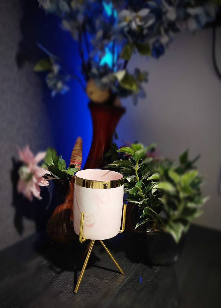 Gold Rimmed Marble Ceramic Vase
