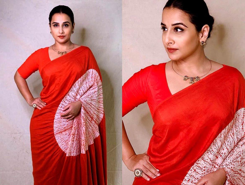 vidya balan sarees in red shibori