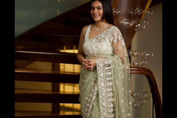 kajol White Net Saree