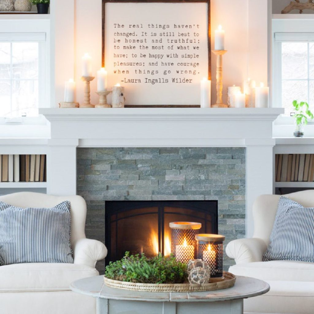 Decoration With Candles On Mantle