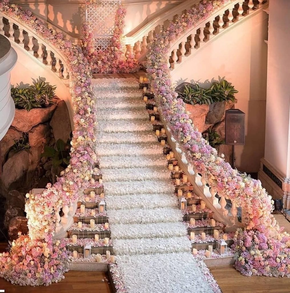 Decoration With Candles On Staircase