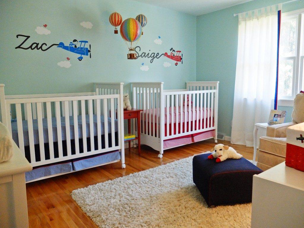 minimalist twin room decoration ideas for newborn baby