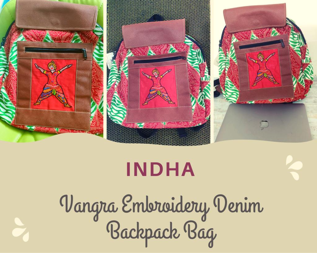vangra embroidery denim backpack
