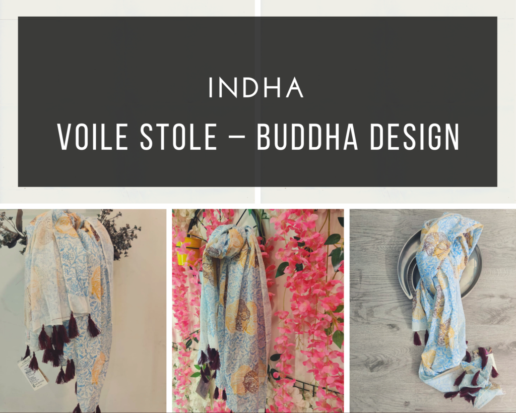 voile stole - buddha design