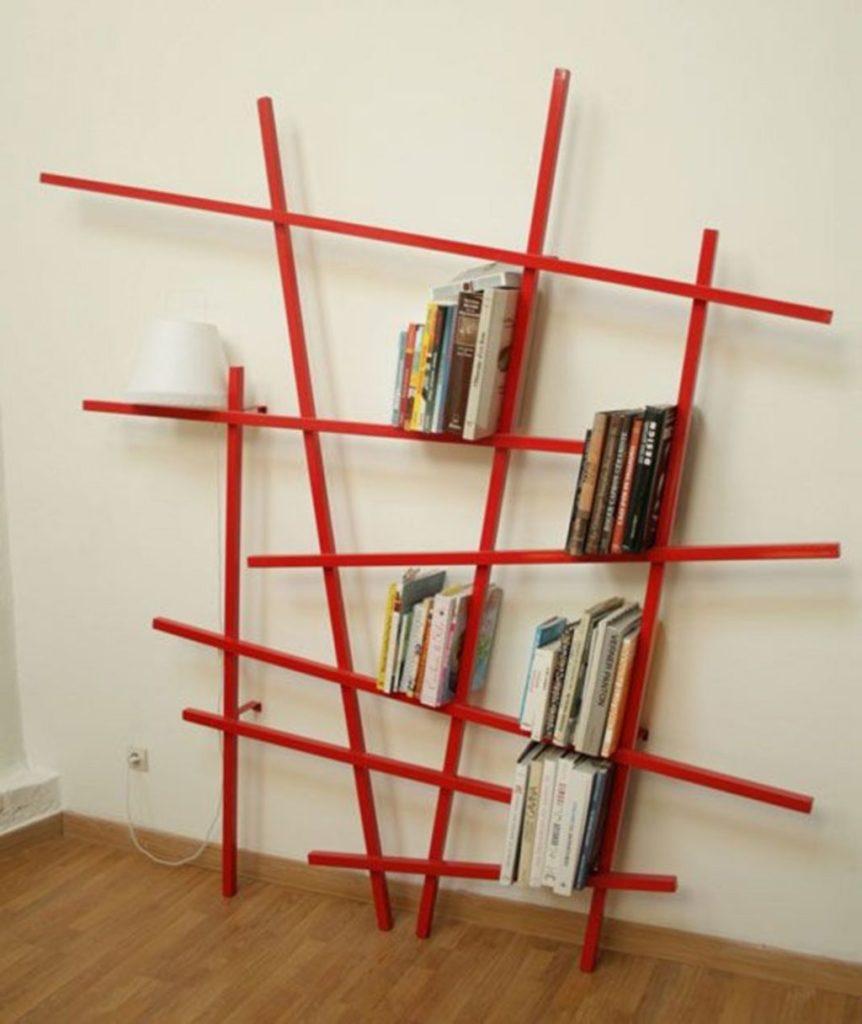 geometric modern book rack design
