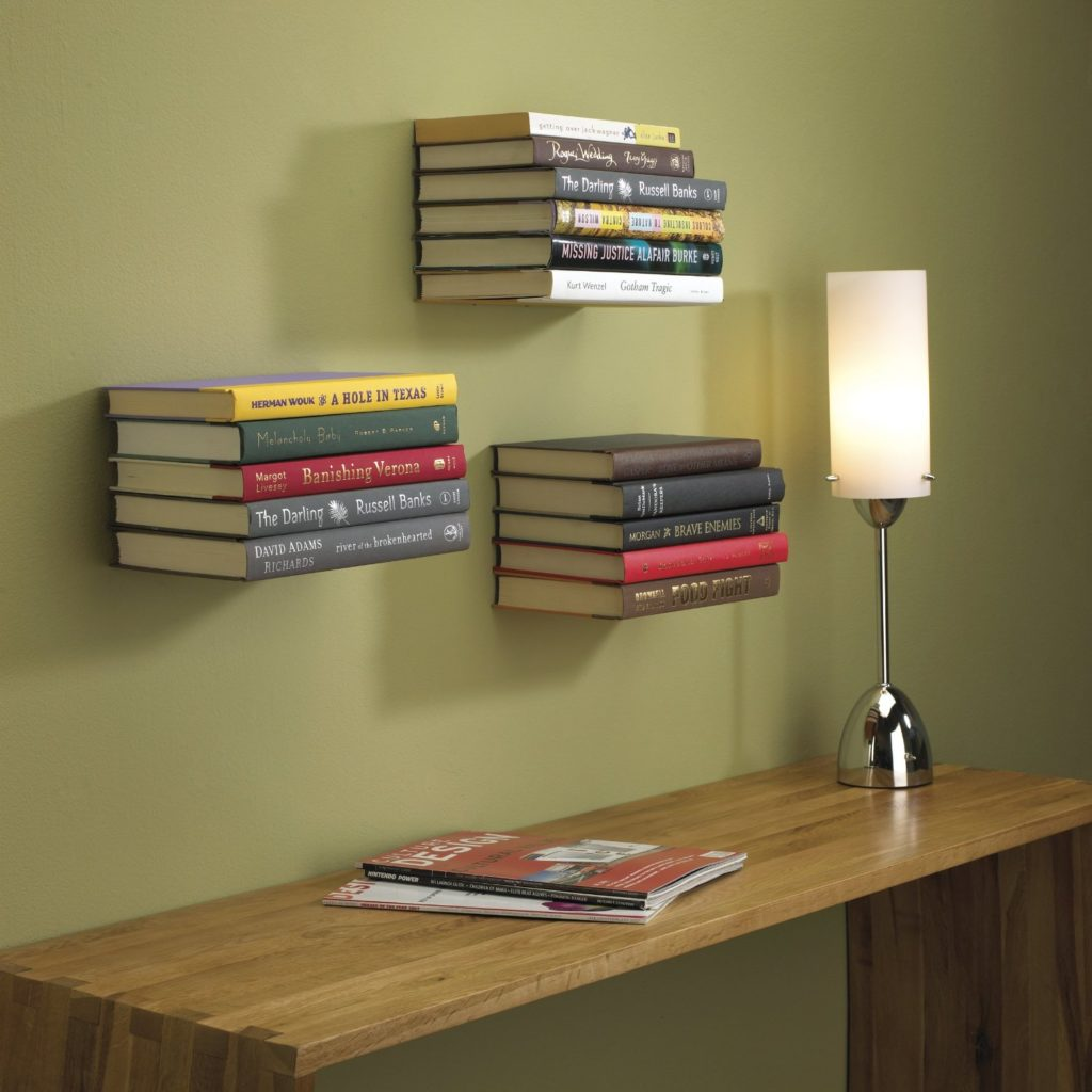 invisible modern book rack design
