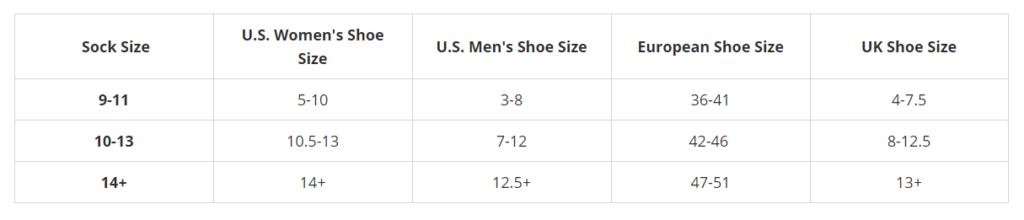 sock size chart