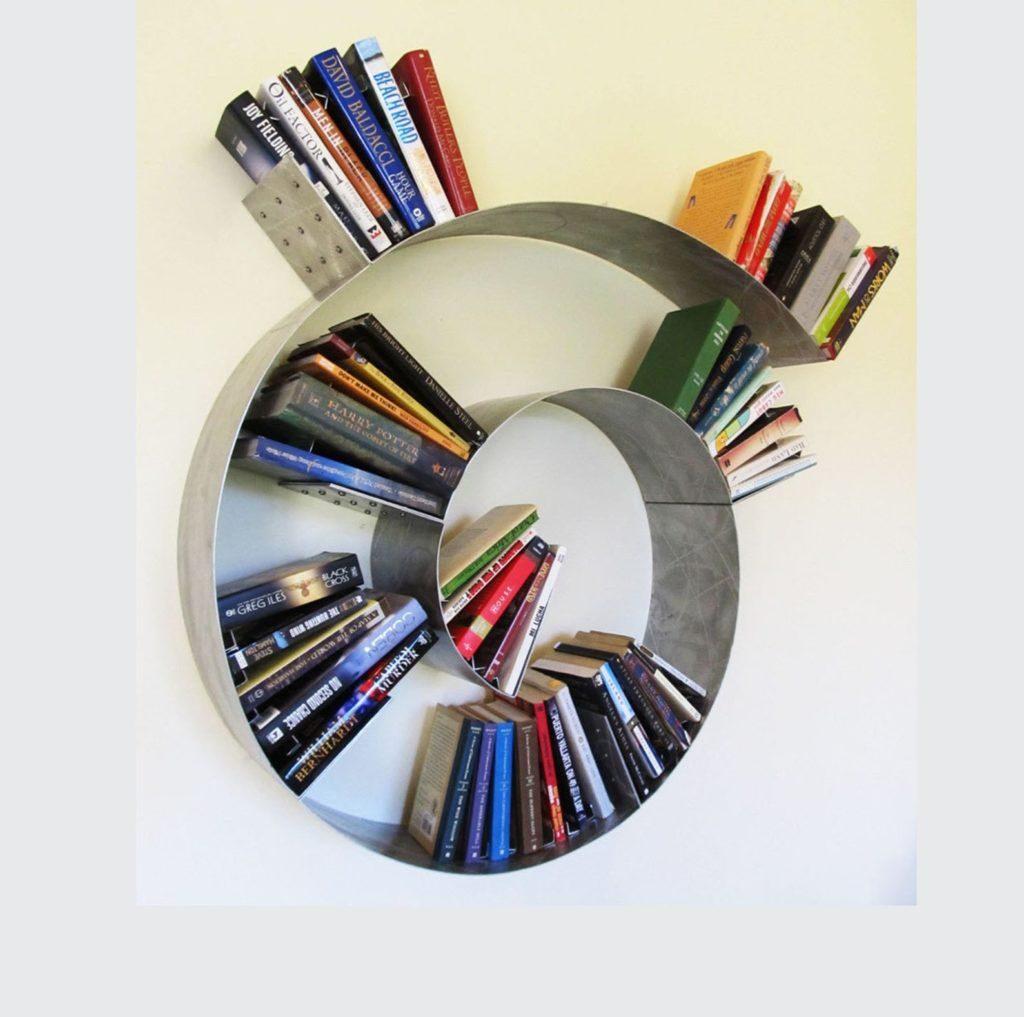 spiral modern book rack design