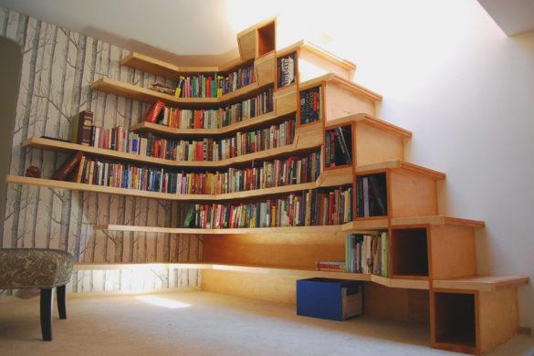 stairwall modern book rack design