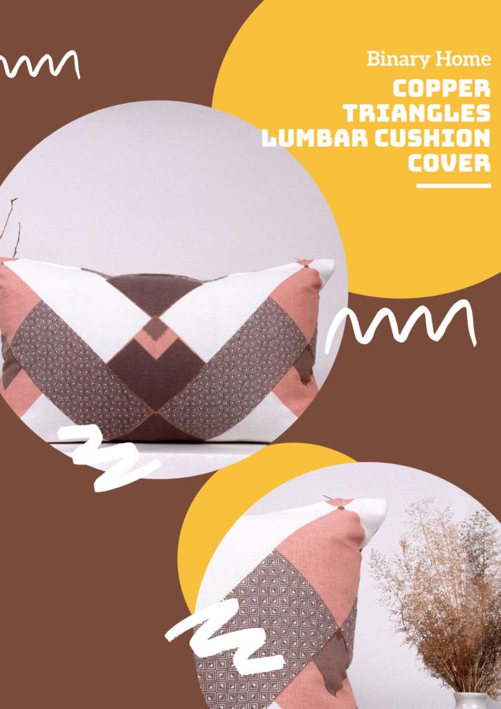 copper triangles lumbar cushion cover