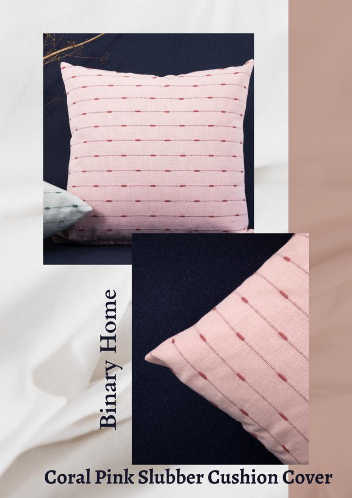 coral pink slubber cushion cover