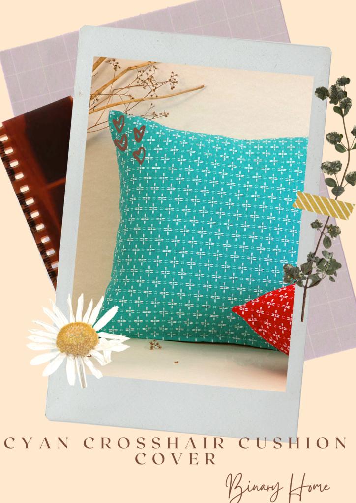 cyan crosshair cushion cover