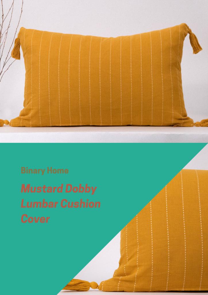 mustard dobby lumbar cushion cover