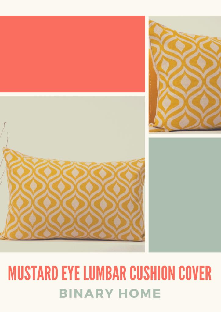 mustard eye lumbar cushion cover