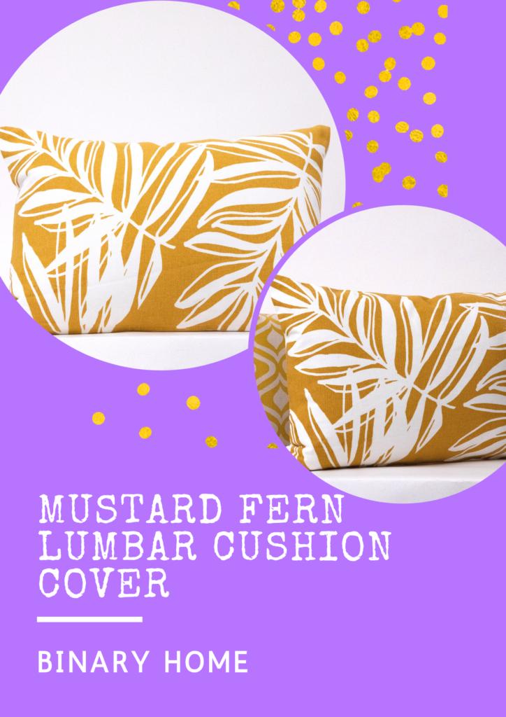 mustard fern lumbar cushion cover