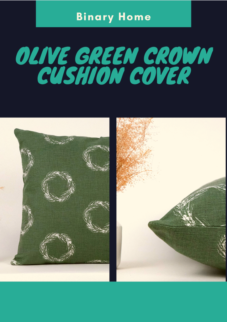 olive green crown cushion cover
