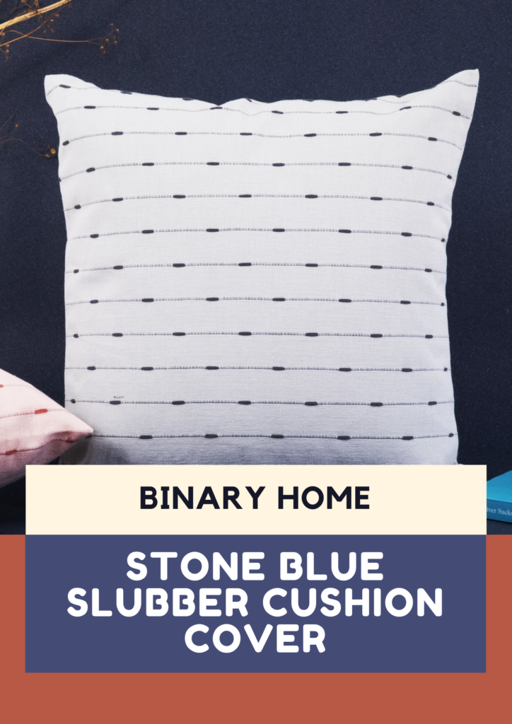 stone blue slubber cushion cover