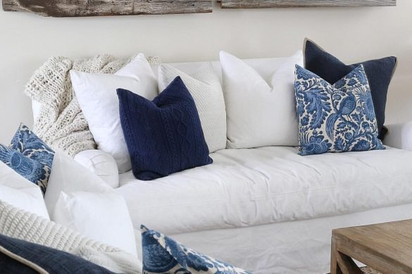 white and blue sofa interior design