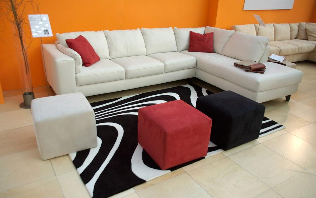 white and red sofa interior design