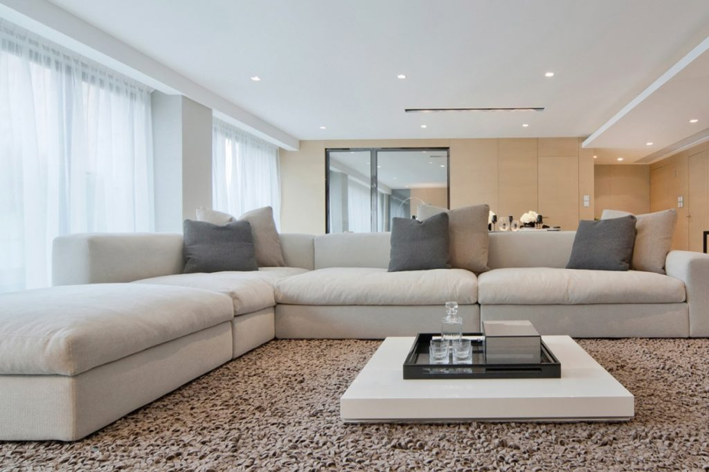 white sofa with rug