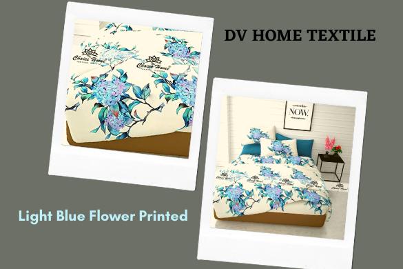 light blue printed bedsheet